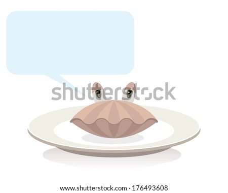 shellfish on plate, cartoon concept