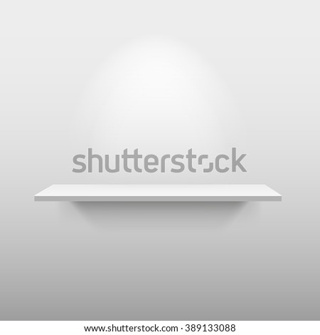 Shelve with light and shadow in empty white room