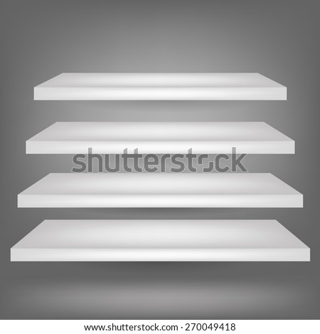 Shelves Isolated on Grey Background. Four White Realistic Shelves. - stock vector