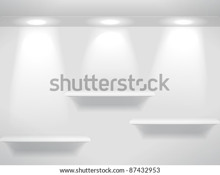 Shelves on the wall - stock vector
