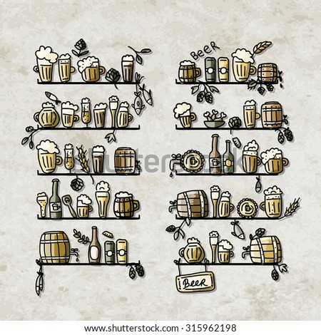 Shelves with beer icons, sketch for your design. Vector illustration - stock vector