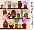shelves with ceramic pots and flowers - stock vector