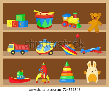 Shelves With Children Toys Vector Illustration Kids Set In Wooden Closet
