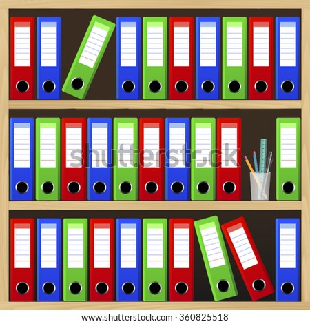 Shelves with file folders - stock vector