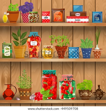 shelves with Fresh produce and herb planted in pottery pots. preserved food at home  on background of wood wall - stock vector