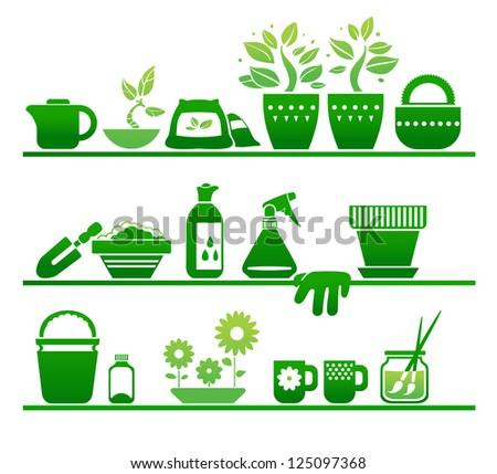 shelves with gardening stuff - stock vector