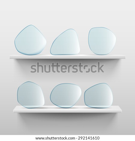 Shelves with glass app icon placeholders on white background - stock vector