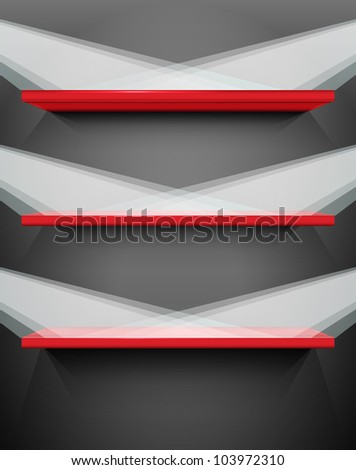 Shelves with place for your exhibits, vector illustration, eps10, 3 layers, easy editable - stock vector