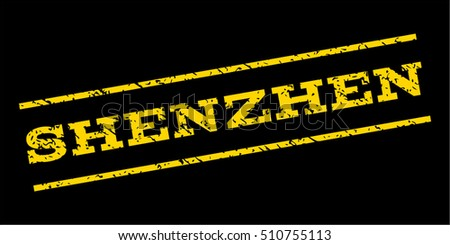 Shenzhen watermark stamp. Text caption between parallel lines with grunge design style. Rubber seal stamp with dust texture. Vector yellow color ink imprint on a blue background.
