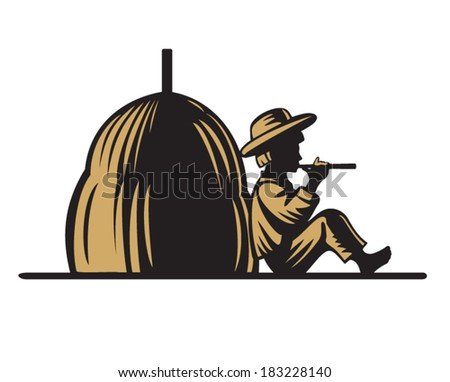 Shepherd playing a pipe near the haystacks engraving - stock vector