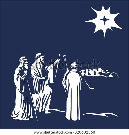 Shepherds and the star of Bethlehem - stock vector