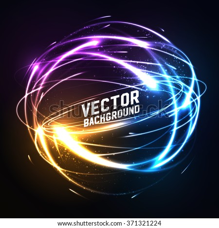 Shere of meteor-like shining neon lights in impact. Futuristic technology style. Vector illustration for presentations, party flyers, banners or other design