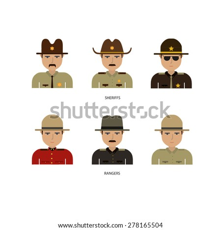 Sheriff and ranger flat faces - stock vector