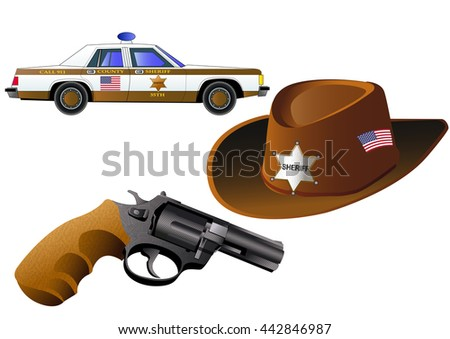 Sheriff badge, gun, car and hat, isolated on white, vector illustration. Icon. Flat style
