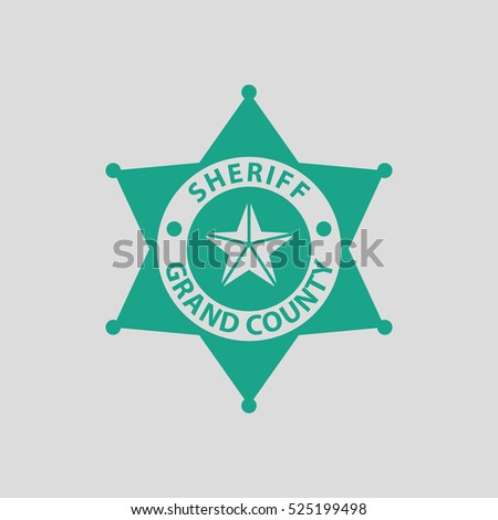 Sheriff badge icon. Gray background with green. Vector illustration.