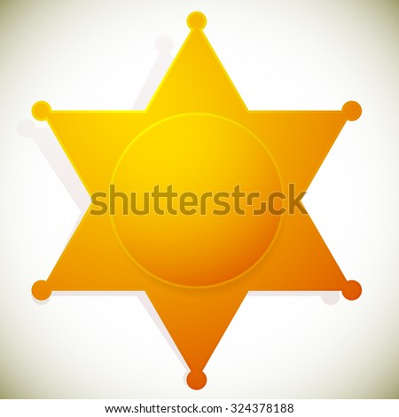 Sheriff's badge, sheriff's star with a circle in it.