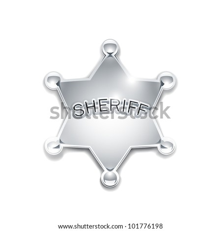 sheriff's metallic badge as star vector illustration isolated on white background EPS10. Transparent objects and opacity masks used for shadows and lights drawing - stock vector