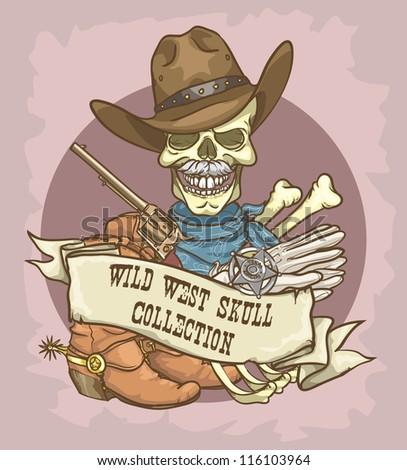 Sheriff's skull logo design - Wild West Skull Collection - stock vector