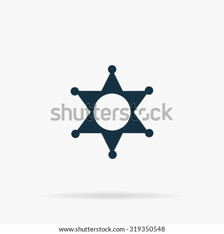 Sheriff star. Flat vector web icon or sign on grey background with shadow. Collection modern trend concept design style illustration symbol - stock vector