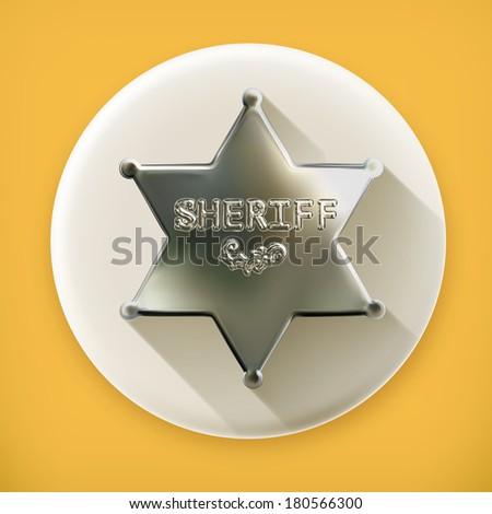 Sheriff star, long shadow vector icon - stock vector