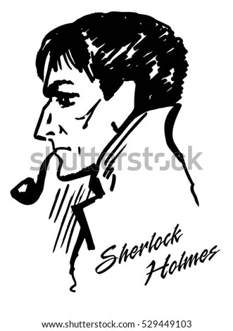 detective illustration vector illustration of detective with the pipe ink drawing