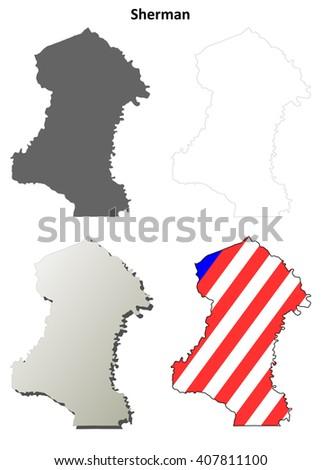 Sherman County Oregon Blank Outline Map Stock Vector 407811100