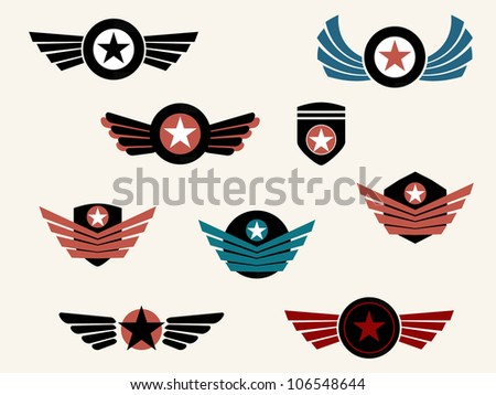 Shield and badge with wings - stock vector