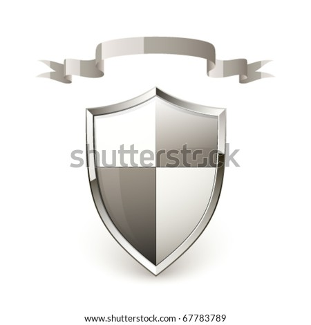 Shield and ribbon - stock vector