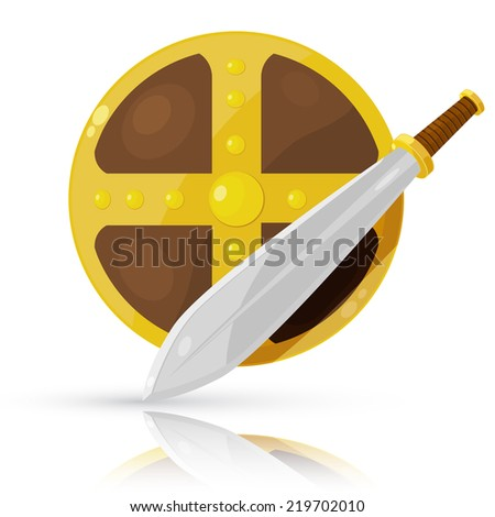 Shield and sword isolated on white background. Vector illustration.  - stock vector