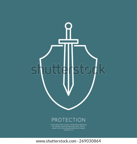 Shield and sword. Symbol of defense and attack. minimal. Outline. - stock vector