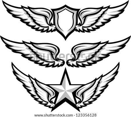 Shield and Wings Emblems Vector Illustration