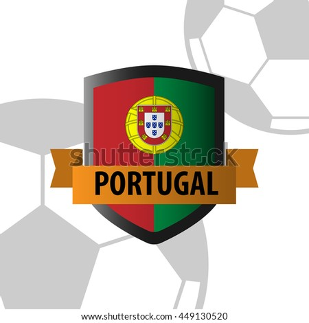 Shield badge with Portugal Nation Flag - stock vector