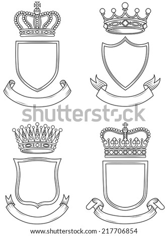 Shield, Banner, and Crown Set - A set of original, hand-drawn coat of arms.  Each element is grouped for easy editing.  Outline and fill colors can be changed easily. - stock vector