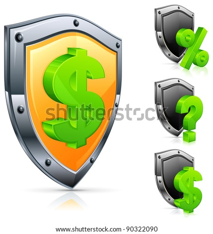 Shield economic icons with dollar symbol on white, vector illustration