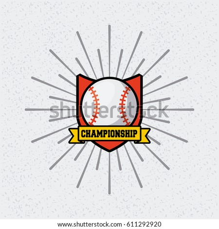 shield emblem of baseball sport with ball icon over white background. colorful design. vector illustration