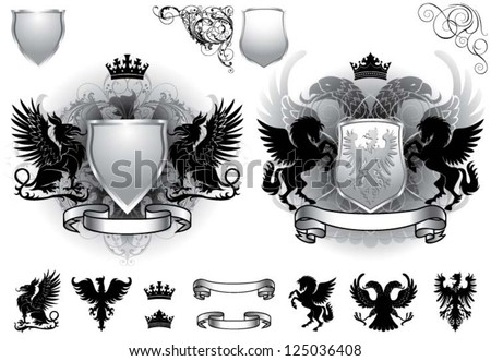Shield gray heraldry - stock vector