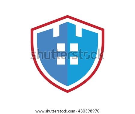 Shield House hexagon buttons list menu icons content stock vector 315315707