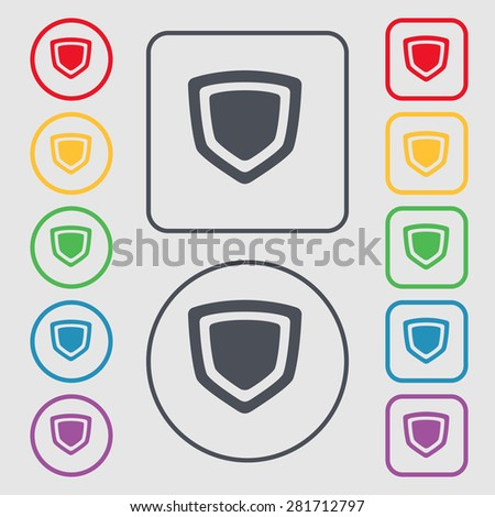 shield icon sign. symbol on the Round and square buttons with frame. Vector illustration