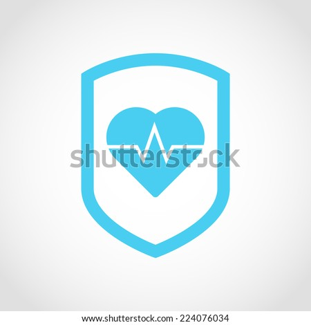 Shield icon with Heartbeat sign Isolated on White Background - stock vector