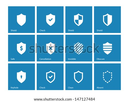 Shield icons on blue background. Vector illustration. - stock vector
