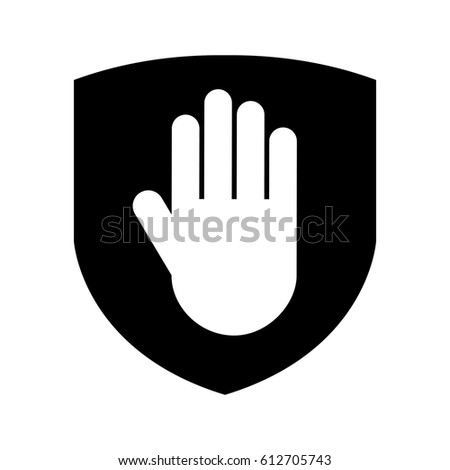 shield insurance with hand stop isolated icon