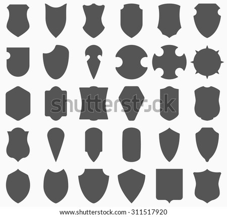 Shield. Large vector set. Different shields shapes collection isolated on white background. Heraldic logo signs. - stock vector