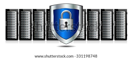 Shield Lock Servers and Shield Protection - Network Security - stock vector