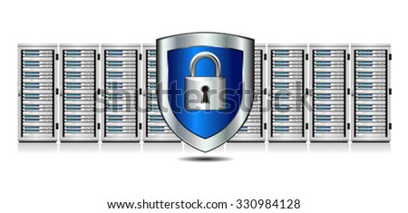 Shield Lock Servers and Shield Protection - Network Security - Information technology conceptual image - stock vector