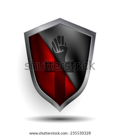 Shield made with elements of Anarchy flag and cross. Vector illustration. - stock vector
