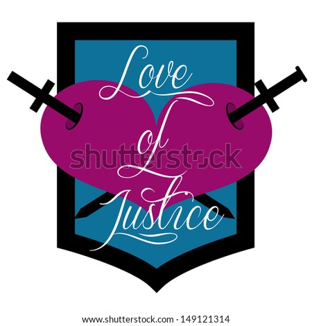 shield of a heart pierced by two swords together with text - stock vector