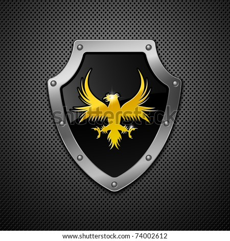 Shield on a metallic background. - stock vector