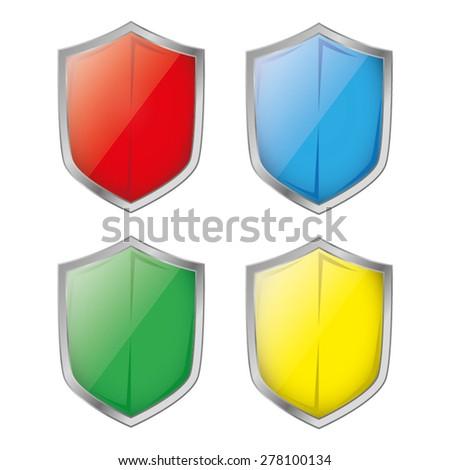 shield set - stock vector