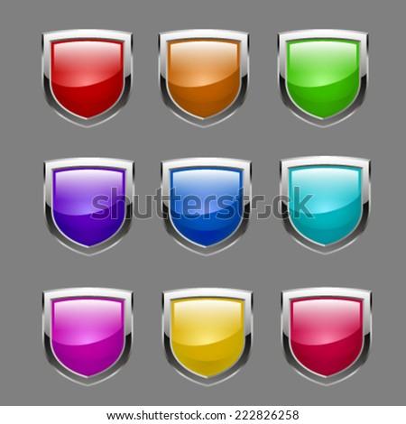 Shield set. Vector - stock vector