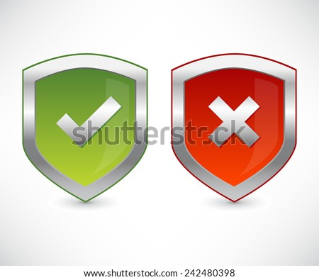 Shield set with check marks